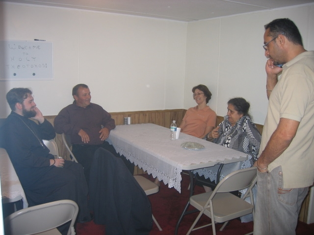 Fellowship after first Orthodox Liturgy in Greenville, NC, 2008